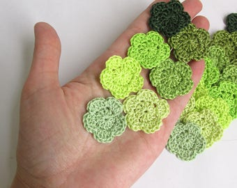"""Crocheted 1"""" flowers, 21 pc., handmade cotton  appliques, green mix"""
