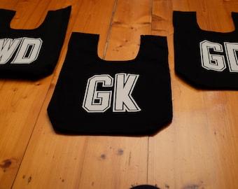 Netball bib bag set of 3 - unique netball team gift, gift for mum or bridesmaid - sport bag, tote, book bag, market bag - custom available