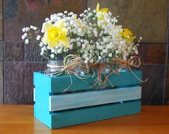 Wooden Crate Mason Jar Flower Holder, Wedding Reception Decorations, Teal Home Decor, Rustic Wedding Decorations, Wedding Table Number Signs