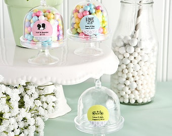 50 Personalized Mini Cake Stand Plastic Box Favors - Set of 50