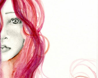 Pink Hair Watercolor Painting Girl Fine Art Drawing Girls Face Gift for Her Women in Art Evocative Fashion Illustration Beauty Salon Decor