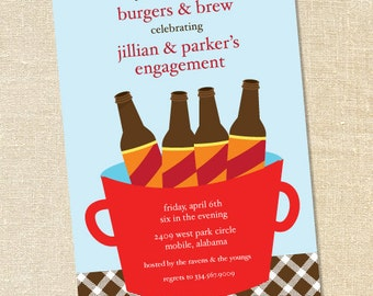 """Sweet Wishes """"Beer in a Bucket"""" Party Invitations - PRINTED - Digital File Also Available"""