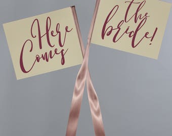 Set of 2 Ring Bearer Signs - Here Comes The Bride   Wedding Signs   Pennant Flags 1764 SRW