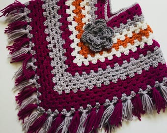 Warm and cosy crochet child's poncho age 3-5 in grey pink white and orange childs gift birthday winter