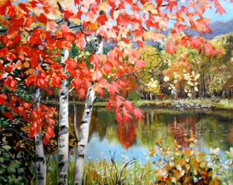 Fall Landscape on the Pond original artwork oil painting Top selling artist