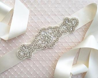 Wedding Sash Belt, Bridal Sash Belt - Crystal Sash Belt
