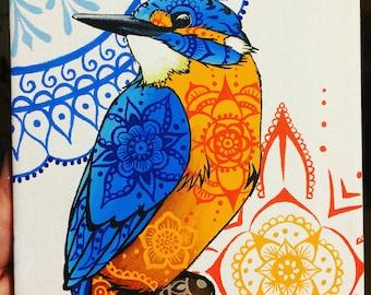Original Canvas Painting, Kingfisher Acrylic Canvas, Mini Animal Canvas, Mandala Pattern, Mandala Animals, Henna Style Artwork