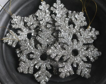 Snowflake Ornament - Silver German Glass Glitter Christmas Decoration