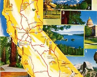 California State Map Multi View Vintage Chrome Greetings Postcard (unused)