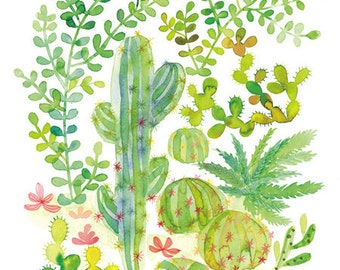 Multicolor Green Cacti Succulent Jungle Illustration Watercolor Painting Reproduction, Whimsical Desert Plant Art, Home Decor Kids Room
