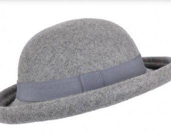 Soft Rolled Up Brim Bowler Hat- crushable