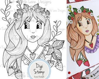 Strawberry Girl, Digi Stamp, Fruit, Girl Digital Stamp, Clipart Girl, Colouring Page, A5 Sheet, Line Art, Floral, Berry Fruit, Strawberries