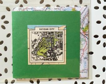 Vatican City vintage map card
