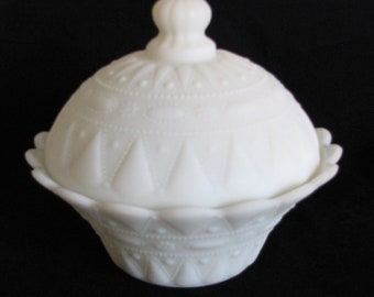 1940s Milk Glass Kemple Compote Dewdrop Lace Beaded Jewel