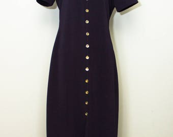 Vintage Dawn Joy Navy faux button down dress.