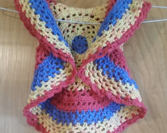 Ring Around the Rosy Vest - Child 24 mo. size Blue, Yellow, Bright Pink