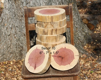 "Rustic Wood Slices, Wedding or Party Decor, 6"" - 7"" diameter x 1.5"" thick, set of 10, woodland, rustic, centerpiece, dessert bar, DIY"