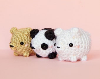 We Bare Bears - Bear Plush - Bear Amigurumi - Grizzly Bear - Panda Bear - Polar Bear - Kawaii Amigurumi - We Bare Bears Plush