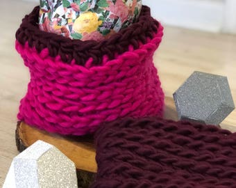 READY TO SHIP //Ridge Cowl, Crochet Scarf, Snood, scarf, Wool Scarf, Wool Cowl, Pink Scarf, Red Scarf, Burgundy Scarf