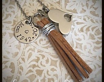 Heart Urn Tassel Necklace - stainless steel heart cremation urn & disc and chain - suede leather tassel - tassel memorial necklace