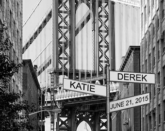 Personalized Wedding Gift - New York City - Manhattan Bridge - Romantic Anniversary Gift - Dumbo Brooklyn Nyc pp121