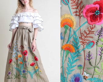 vintage 70s HEAVILY EMBROIDERED floral maxi skirt size S M / bumble bee butterfly high waist wrap hippie boho maxi small medium 1970s