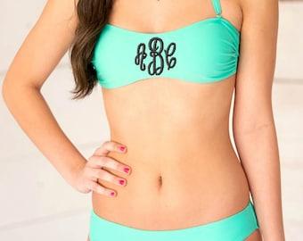 Monogrammed Bikini Bandeau Top Swim Swimsuit