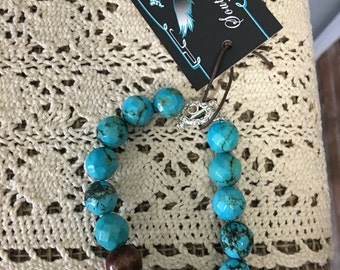 Turquoise with Fresh Water Pearl Bracelet