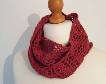 CINNAMON Scarf - Crochet Bamboo Infinity Scarf - Ready to ship