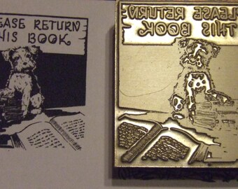 "Bookplate ""Please Return This Book"" Letterpress Printing Block - Letterpress Blocks - Print Blocks - Mounted Letterpress Block"