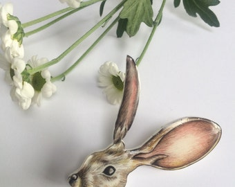 Illustrated Hare pin brooch, hand drawn, easter gift