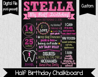 Girl's Half Birthday Chalkboard - DIGITAL - Six Month Birthday Sign - Girl 6 Months Old - Pink Half Birthday Sign - My Half Birthday - Pink