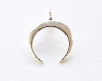 925 Sterling Silver Crescent Moon Pendant - C shape wish moon charm in sterling silver