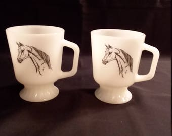 2 Rare Fire King Equestrian Horse Footed Mugs