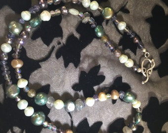 Freshwater pearl, Iolite and Czeck glass bead necklace with sterling silver toggle  clasp