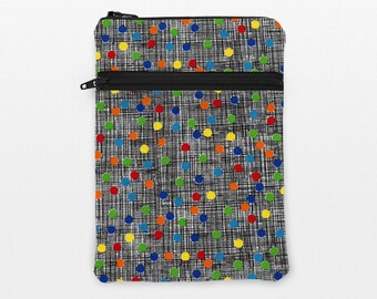 "iPad Pro 12.9"" Sleeve, iPad Mini Pouch, Kindle Oasis Case, Galaxy Tab Pro 10.1 Sleeve, Zipper Kindle Cases - colorful dots black crosshatch"