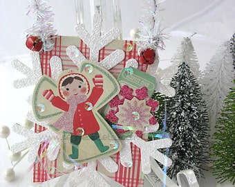 Vintage Style Collage Hanging Ornament~Christmas Ornament~Bunting~Snowflake~Snow Angel~Pink~Green~Red~White