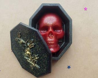 Coffin soap, skull shaped soap, halloween soaps, mummy soap favors, vampire goth soap, coffin bath bomb, glitter soap, red skull bath bomb