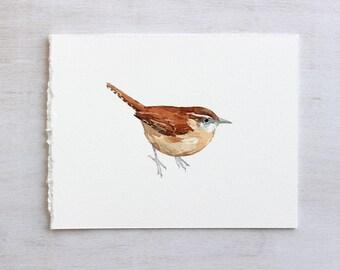 Carolina Wren Original Watercolor Painting, mini original bird art