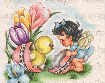 Girl with Chick Happy Easter Card #645 Digital Download