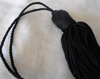 VINTAGE Long Black Rayon Tassel