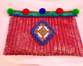 Red clutch part ethnic