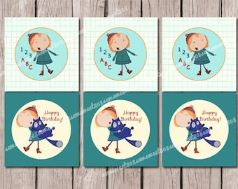 INSTANT DOWNLOAD Peg Cat Kids Birthday 2 inch Cupcake Toppers PRINTABLE