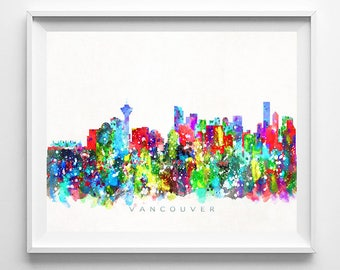 Vancouver Skyline, Print, Watercolor Painting, Canada Art, Wall Decor, Cityscape, Wall Art, Home Decor, Giclee Art, Fathers Day Gift
