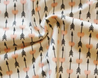 Organic Swaddle Blanket Blush Love Arrow - Swaddle Blanket - Organic Knit - Baby Blanket - Newborn Blanket - Peach Swaddle - Girl Blanket