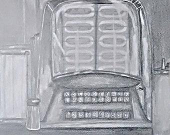 """original artwork, OOAK, graphite """"Tabletop"""""""