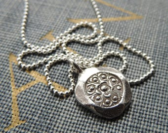 Karen Hill Tribe Silver Pendant Necklace / Sterling Silver Necklace / Handmade Necklace / Minimalist / Flower /Boho Jewelry / Gift for Her