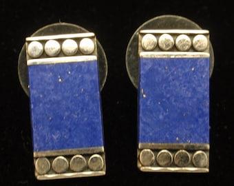 Lapis Sterling Silver Earrings Vintage Posts