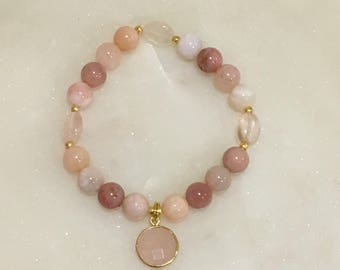 Pink Opal Stretch Bracelet with Rose Quartz Accents