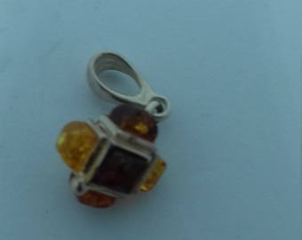 Contemporary Amber Cube set in Silver and Silver Chain